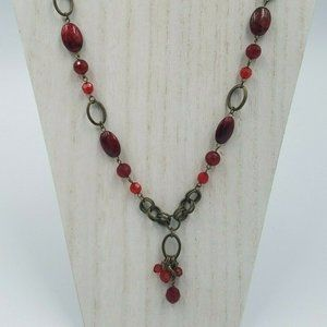 Premier Designs Red Bead 24″ Necklace